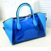 $16.49 Fashion Simple Solid Zipper Design Blue PU Shoulder Bag