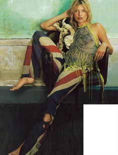 KATE MOSS IN BESPOKE UNION JACK TROUSERS BY KATIE EARY, MADE FROM AN ANTIQUE FLAG
