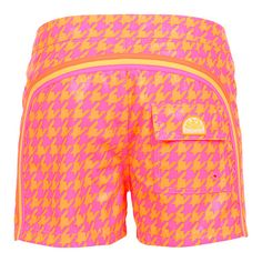 ORANGE MID-LENGTH SWIM SHORTS WITH HOUNDSTOOTH PATTERN AND RAINBOW BANDS Orange polyester low rise Boardshorts with contrast Houndstooth print and featuring the three classic rainbow bands on the back. Fixed waistband with adjustable drawstring and Velcro closure. Back Velcro pocket with Sundek logo detailing. COMPOSITION: 100% POLYESTER. Model wears size 32 he is 189 cm tall and weighs 86 Kg.