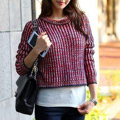 [Secret2Girls] Cropped Round Knit Sweater