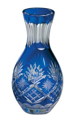 "Vase Cut Glass - Cobalt Blue, 5.75"" Height by Banberry Designs. $12.99. Cobalt Bud Vase. Sophisticated and elegant. Intricate clear cuts on richly colored glass. European Old World charm."