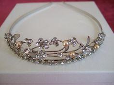 Silver Crystal Flower and Freshwater Pearl Tiara. / Headdress / Bridal Tiara / Wedding Tiara / Bridesmaid Tiara / Maid of Honour Tiara
