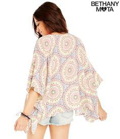 Geo Print Kimono Top - Summer Bethany Mota Collection