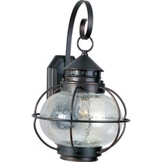 Cast a warm glow in your backyard or porch with this industrial-inspired wall mount, featuring a cage-style frame, seeded glass shade, and oil-rubbed bronze ...