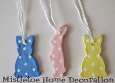 Salt dough Easter decorations - polka dot bunnies