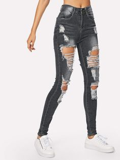 Shop Ripped Bleach Wash Skinny Jeans at ROMWE, discover more fashion styles online. Cute Ripped Jeans, Camo Skinny Jeans, Cropped Wide Leg Jeans, Lässigen Jeans, Flare Leg Jeans, Black Ripped Jeans Outfit, Ankle Jeans, Skinny Jean Outfits, Ripped Jeggings