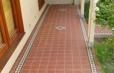 Artistic Tile Design: period tiles, renovations, tessellated bathroom and verandah tiles, embossed ceramic border tiles Terrace Tiles, Patio Tiles, Outdoor Tiles, Outdoor Patios, Outdoor Decor, Front Verandah, House Front Porch, Porch Tile, Porch Flooring