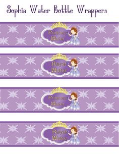 Sofia The First Birthday water bottle Wrappers by DecorAtYourDoor