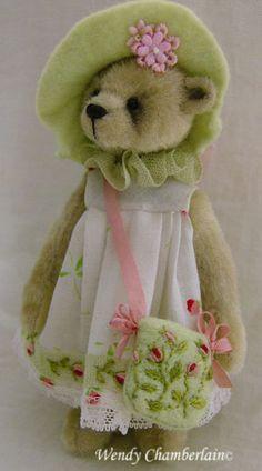 SABRINA - Miniature teddy bears by soft sculpture artists Wendy & Megan Chamberlain of Essential Bears