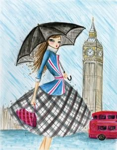 England.  Illustration by Bella Pilar.  Visit www.exploreuktravel.co.uk for holidays in the UK