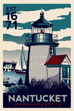Nantucket Massachusetts Light House Retro by RetroScreenprints, $24.99