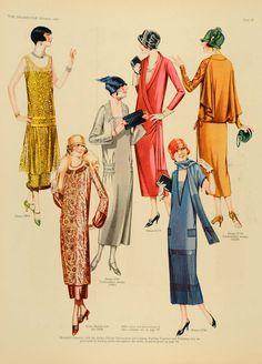 1925 fashion illustration   1925 Butterick Fashion Dress Tunic Patterns Hats Women Prints SET ...
