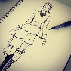 http://kasiagorgeous.tumblr.com/post/111897116503/runway-fashion-illustration-with-brushpen-ink