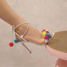 Happy Easter!  The 'pom pom' sandals now available @holtrenfrew @aquazzuraboutiques #aquazzura
