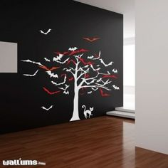 Amazon.com: Tree of Bats Wall Decal: Furniture  Decor
