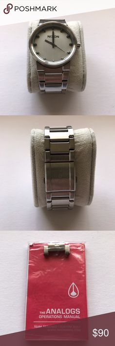 Nixon Cannon Watch Silver Preowned. Used very lightly. Still like new. No scratches or scuffs. Brushed metal. Silver. No Box. Original manual and extra link included. New battery included. Nixon Accessories Watches