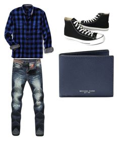 """Untitled #96"" by kourtniestarr on Polyvore featuring Lands' End, Converse, Michael Kors, men's fashion and menswear"