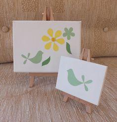 Floral  Bird Acrylic Original Miniature Art Canvas - With Wooden Easel (Garden)