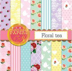 Pastel digital paper soft florals and tea party digital paper pack cottage chic floral digital background