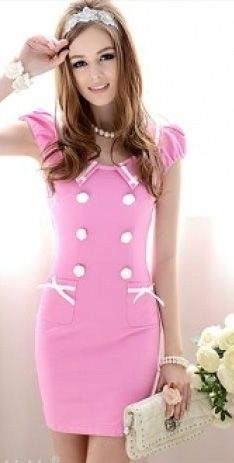 Pink Dress with white Buttons