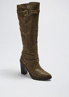 Brown Stacked Heel Buckled Knee-High Boot