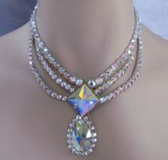 Swarovski Crystal Square Front and Pear drop Ballroom necklace http://ballroomjewels.com