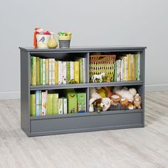 """Shop 32"""" Horizon Bookcase With Bins (Grey).  Our 32"""" grey Horizon Bookcase with bins features two spacious shelves at the top and two roomy bins at the bottom for storing books, toys, & trinkets."""