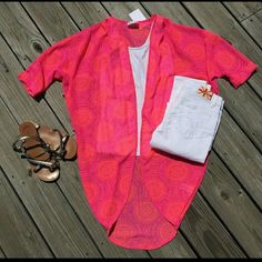 Neon paradise kimono - L NWT. Great to use as a cover up for summer.   No trades/pp Tops