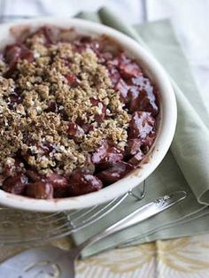 We used strawberry preserves instead of sugar to sweeten this classic dessert. Then we made a heart-healthy topping with oats and cornmeal.