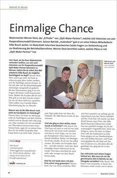 """""""Einmalige Chance!"""" Interview im branchenführenden """"Malerblatt"""", mit Silke Busch und Werner Deck zur Betriebsübergabe malerdeck"""