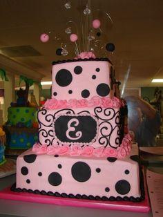 Pink/Black Girly birthday cake
