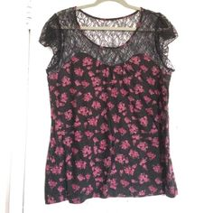 Lace top floral tee Sexy fun floral tee with lace top and flutter sleeve! Soft and comfy; perfect for a night out! Pen once; in excellent condition. Elle Tops Tees - Short Sleeve