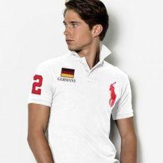 Ralph Lauren Custom-Fit Delgado Bandera de Alemania Polo Blanco / Rojo