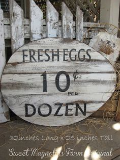 """Fresh Eggs"" Wood Egg Sign Handmade from reclaimed lumber - cute corrugated metal trim around outer edge - Ready for outdoors or in. Farmhouse by SweetMagnoliasFarm, SOLD to a Good Home. Eggs For Sale, Corrugated Tin, Do It Yourself Furniture, Reclaimed Lumber, Farm Signs, Farmhouse Chic, Country Farmhouse, Shabby Chic Cottage, Country Decor"