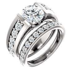 2.0 Ct Round Accented Diamond Engagement Ring 14k White Gold – Goldia.com