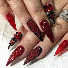 In order to provide some inspirations for nails red colors for your long nails in this winter, we have specially collected more than 80 images of red nails art designs. I hope you can find a satisfactory style from them. Perfect Nails, Gorgeous Nails, Pretty Nails, Goth Nails, Red Nails, Christmas Nail Art Designs, Christmas Nails, Long Nail Art, Stiletto Nail Art