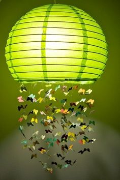 Bedroom ideas...  Creative and Awesome Do It Yourself Project Ideas: diy paper BUTTERFLY  lantern (Asian  grocery, Ikea) they removed the bottom portion (it would shine brighter) with trails of fairy butterflies.... girls bedroom project