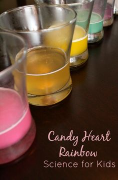Candy Heart Rainbow Science Experiment for Kids. Something fun to do instead of eating those awful chalky things!