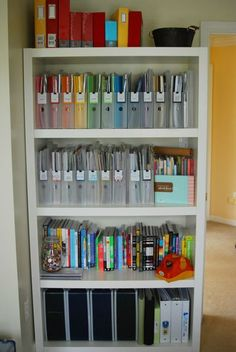 Paper Organization - 12 DIY Office and Craft Space Organization Projects Scrapbook Paper Storage, Scrapbook Organization, Craft Organization, Scrapbook Rooms, Organizing Ideas, Organizing Paperwork, Organizing Important Papers, File Folder Organization, Ikea Organisation