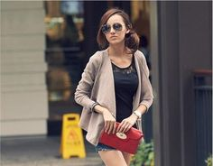 Brown Asymmetric Cut Striated Fabric Asian Fashion Cardigan