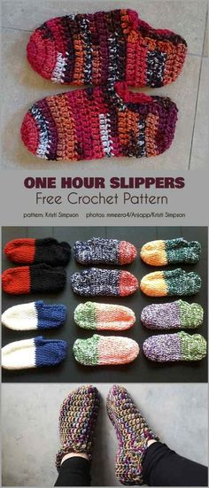 Most current Photo one hour Crochet slippers Popular One Hour Slippers Free Crochet Pattern Easy Crochet Slippers, Crochet Socks, Crochet Gifts, Kids Slippers, Diy Crochet Clothes, Quick Crochet, Crochet For Kids, Crochet Granny, Knitting Patterns Free