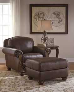 Mellwood Traditional Walnut Color leather Chair And Ottoman. Nothing compares to the pleasure of real leather. Inspired in the European tradition, the opulent Mellwood brings home rich, regal style at an enticing price. #Brown #Chair #Ottoman #Dark Brown #Leather #Living Room – Furnituremaxx