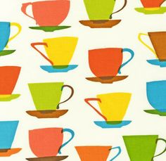A funky 1950's style design of teacups from the 'Metro Cafe' collection by Louise Cunningham. fabric.