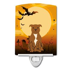 Halloween Staffordshire Bull Terrier Brown Ceramic Night Light BB4313CNL