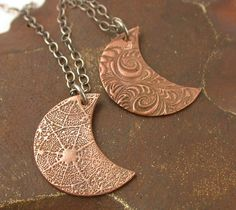 Copper Pendant  Textured Moon with Sterling by SimplyAdorning