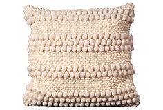 Pom-Pom Stripes 20x20 Pillow, Ivory on OneKingsLane.com