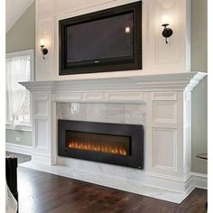 Fireplaces Allure Series 60 Wall Hanging Electric Fireplace - Big George's Home Appliance Mart A wiring diagram is a type of schematic that uses abstract pictorial symbols to show all t Tv Over Fireplace, Linear Fireplace, Fireplace Doors, Brick Fireplace Makeover, Bedroom Fireplace, Farmhouse Fireplace, Home Fireplace, Faux Fireplace, Fireplace Remodel