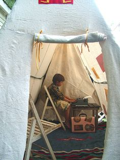 Turn your old swing set into a play fort. Small World Land Blog   What a fantastic idea!