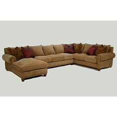 Pewter nail heads and a rich golden wheat upholstery highlight this three-piece sectional sofa set. This furniture set includes four colorful throw pillows. Sectional Sofa, Couch, Colorful Throw Pillows, Sofa Dimension, Sofa Set, Pewter, Highlight, Furniture Sets, Family Room