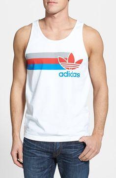 adidas Originals 'Logo' Tank Top   Nordstrom #mensfashion #vintage Nike Vest, Adidas Tank Top, Custom Tank Tops, 3d T Shirts, Tee Design, Mens Tees, Sport Outfits, Adidas Originals, Shirt Designs